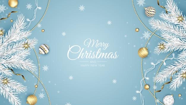 Joyeux noel et bonne année. fond de noël avec poinsettia, flocons de neige, étoile et boules. carte de voeux, bannière de vacances, affiche web
