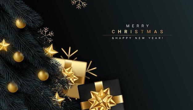 Joyeux noël et bonne année sur fond noir illustration