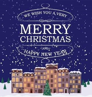 Joyeux noël et bonne année fond avec la petite ville dans un style rétro.