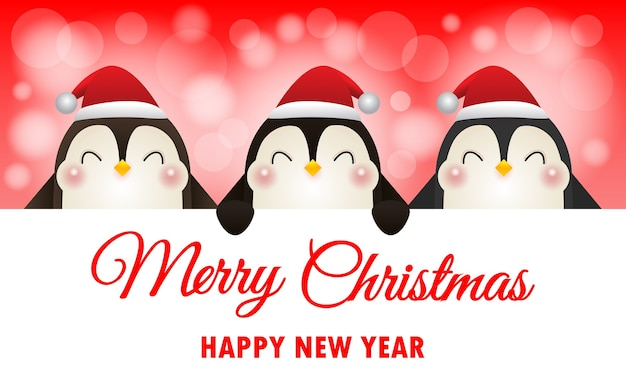 Joyeux noël et bonne année fond avec des pingouins