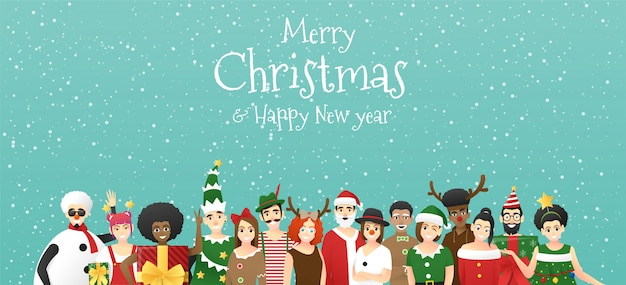 Joyeux noël et bonne année, groupe d'adolescents dans le concept de costume de noël
