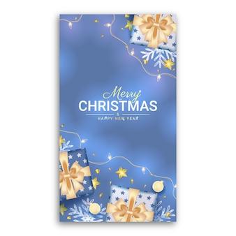 Joyeux noël et bonne année histoire de médias sociaux avec une décoration bleue réaliste