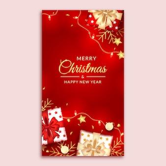 Joyeux noël et bonne année histoire de médias sociaux avec une décoration rouge réaliste