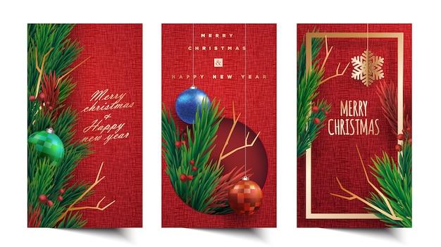 Joyeux noël et bonne année histoires de médias sociaux salutations illustration