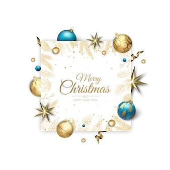 Joyeux noël et bonne année illustration de bannière blanche de vacances.