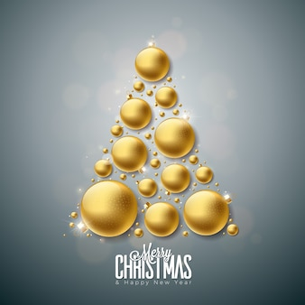 Joyeux noël et bonne année illustration avec des boules de verre ornementales or sur fond propre