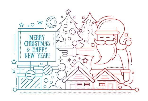 Joyeux noël et bonne année illustration de conception de ligne simple