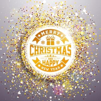 Joyeux noël et bonne année illustration avec la conception de la typographie sur fond brillant pailleté