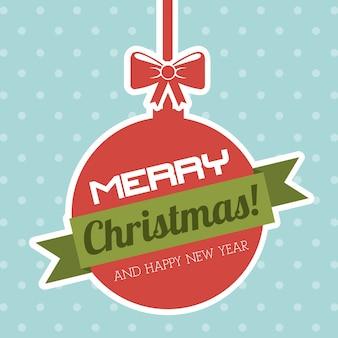 Joyeux noël et bonne année sur l'illustration vectorielle fond pointillé