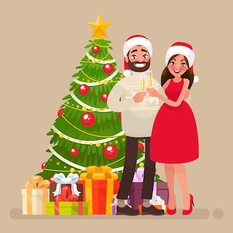 Joyeux noël et bonne année. jeune famille à l'arbre de noël. couple d'homme et femme avec des verres de champagne. en style cartoon