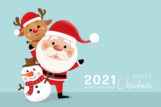 Joyeux noël et bonne année avec le joli père noël, le renne et le bonhomme de neige.