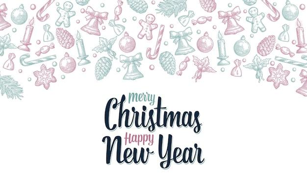 Joyeux noël bonne année lettrage gingerbread man cône bonbons gui bougie gravure