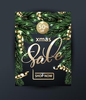 Joyeux noël et bonne année modèle de bannières de vente avec des branches de noël concept de vente
