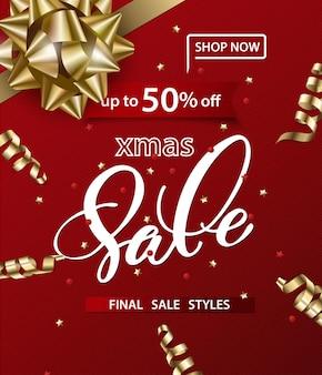 Joyeux noël et bonne année modèle de bannières de vente sur fond rouge concept de vente