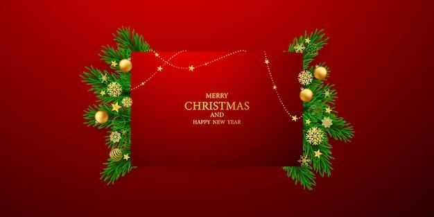 Joyeux noël et bonne année. modèle de fond de célébration avec des rubans. carte de voeux de luxe riche.