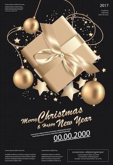 Joyeux noël & bonne année modèle fond illustration