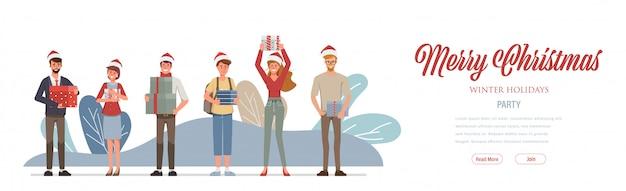 Joyeux noël et bonne année page d'atterrissage web.
