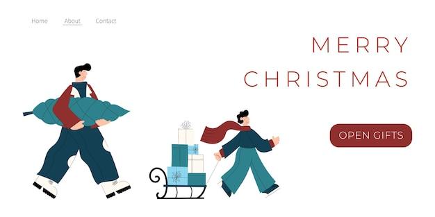 Joyeux noël et bonne année page de destination avec des personnages portant un arbre de noël et des coffrets cadeaux sur traîneau