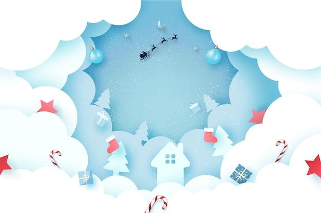 Joyeux noël et bonne année paysage d'hiver avec le père noël en traîneau sur papier