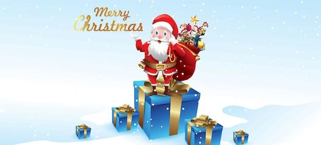 Joyeux noël et bonne année. le père noël agite un sac de cadeaux