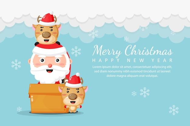 Joyeux noël et bonne année avec le père noël et le cerf