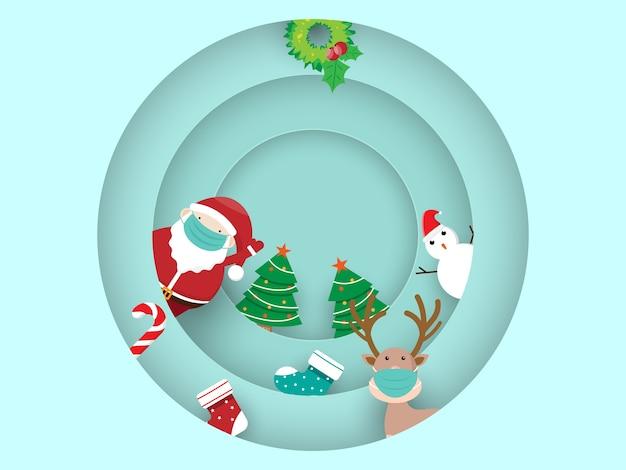 Joyeux noël et bonne année avec le père noël et le dessin animé de rennes