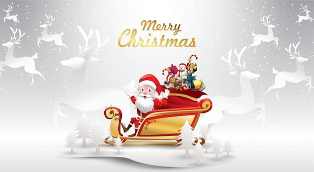 Joyeux noël et bonne année. le père noël monte un traîneau avec un sac