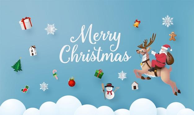 Joyeux noël et bonne année avec le père noël et raindeer