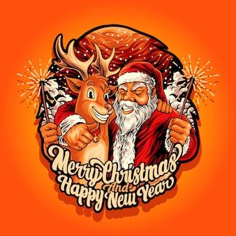 Joyeux noël et bonne année avec le père noël et le roseau