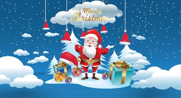 Joyeux noël et bonne année. père noël avec un sac de cadeaux à noël