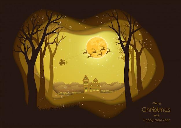 Joyeux noël et bonne année, le père noël venant en ville sur illustration de nuit d'hiver
