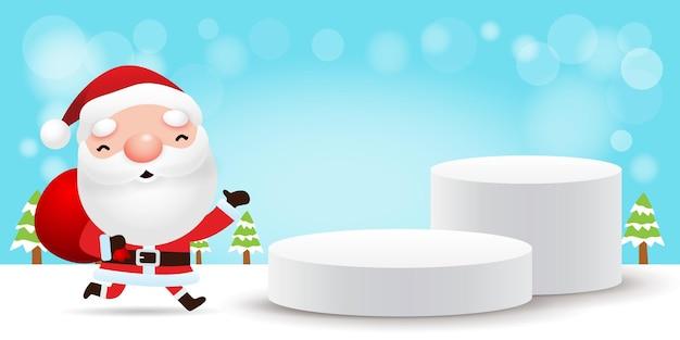 Joyeux noël et bonne année piédestal ou plate-forme de scène
