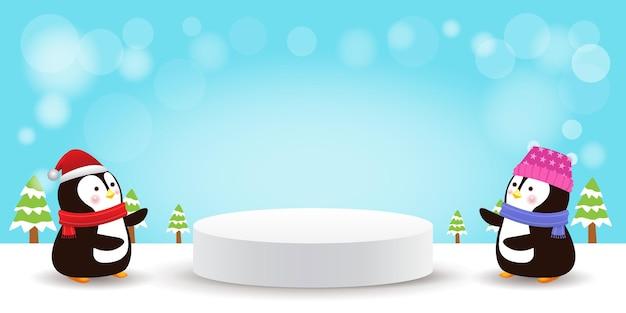 Joyeux noël et bonne année piédestal de scène ou forme de podium de géométrie de plate-forme