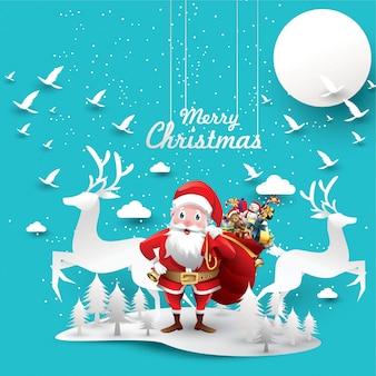 Joyeux noël et bonne année. rennes du père noël avec un sac de cadeaux
