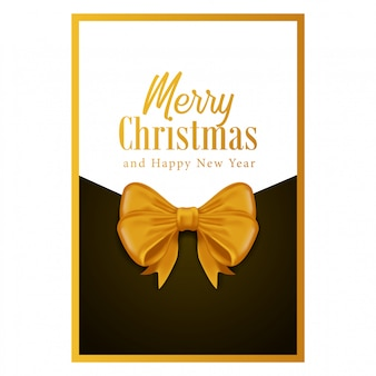 Joyeux noël et bonne année avec ruban d'or