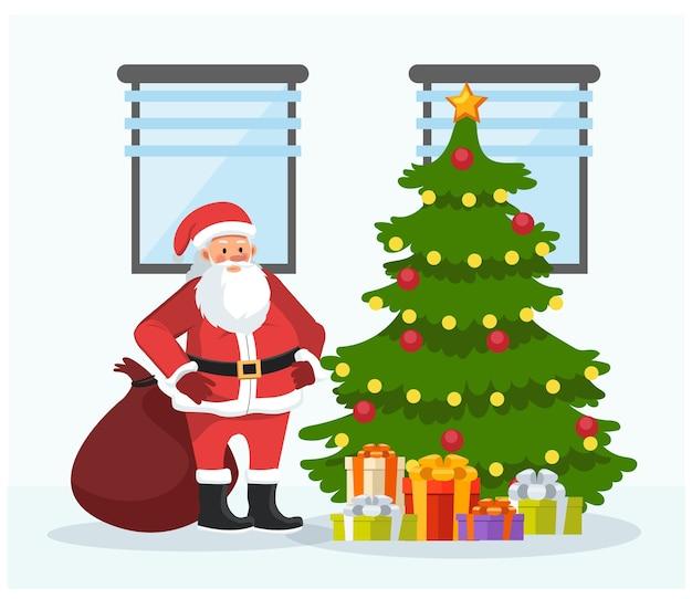 Joyeux noël et bonne année. santa claus drop présente à l'arbre de noël. style de dessin animé de personnage plat illustration.