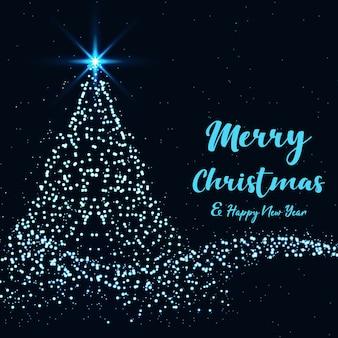 Joyeux noël et bonne année avec sapin de noël avec une touche magique