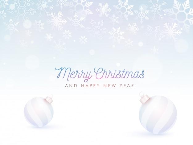 Joyeux noël et bonne année texte et boules.