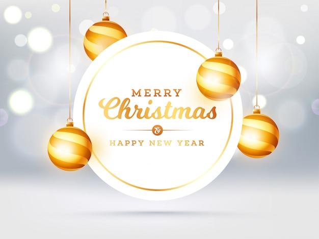Joyeux noël et bonne année texte dans un cadre circulaire avec des boules suspendues décorées sur un effet bokeh blanc. carte de voeux .