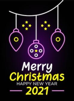 Joyeux noël avec bonne année texte néon et bannière