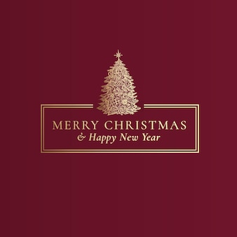 Joyeux noël et bonne année vecteur abstrait chic cadre étiquette signe ou modèle de carte main dra...