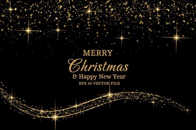 Joyeux noël et bonne année voiture de voeux noir et or