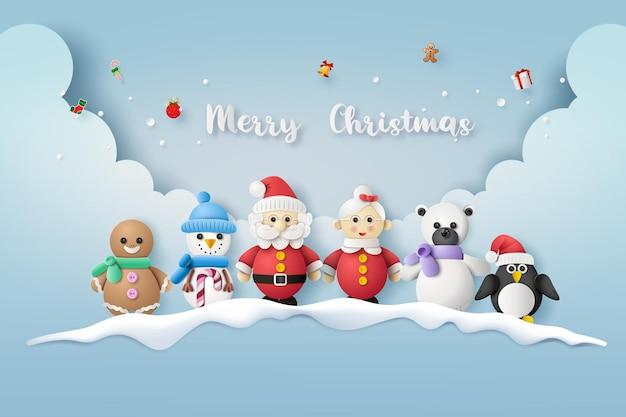 Joyeux noël et bonne et heureuse année. père noël, bonhomme de neige et pingouin. style de chat en papier.