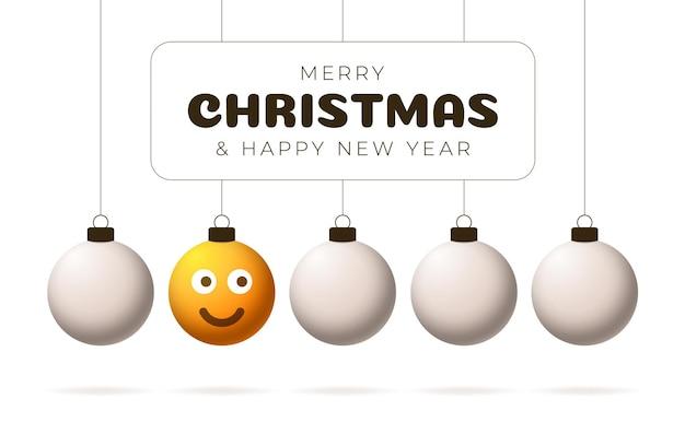 Joyeux noël boule jaune avec carte de voeux visage mignon. émoticônes sur les jouets à bulles. vecteur pour arbre de noël de vacances de décoration. élément de conception bannière de vente happy new year, flyer, affiche, arrière-plan.
