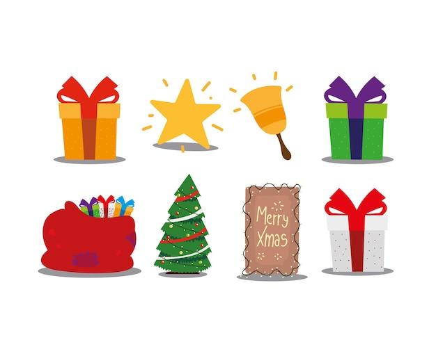 Joyeux noël cadeaux arbre star bell et sac célébration décoration icônes illustration