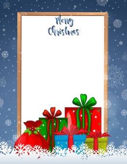 Joyeux noël cadre avec cadeaux et fond