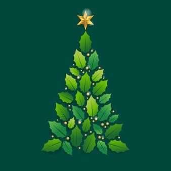Joyeux noël carte avec arbre de noël graphique
