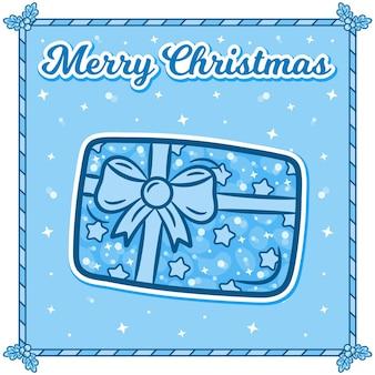 Joyeux noël carte avec autocollant cadeau