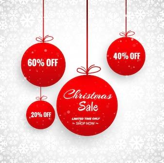 Joyeux Noël carte avec conception de vente de boule décorative