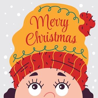 Joyeux noël carte bannière affiche vacances plat cartoon illustration